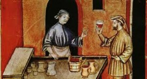 Sebastian and Marcel Joubert tasting some vino in Medieval times.