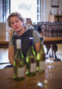 Alicia Rechner, Backsberg winemaker, in pensive pose.