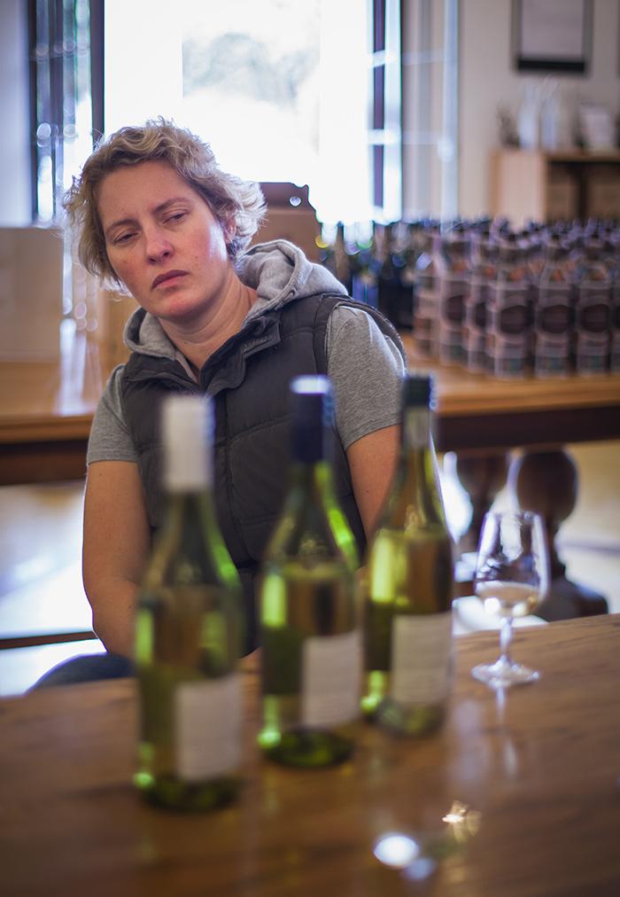 Alicia Rechner, Backsberg winemaker, in pensive pose.