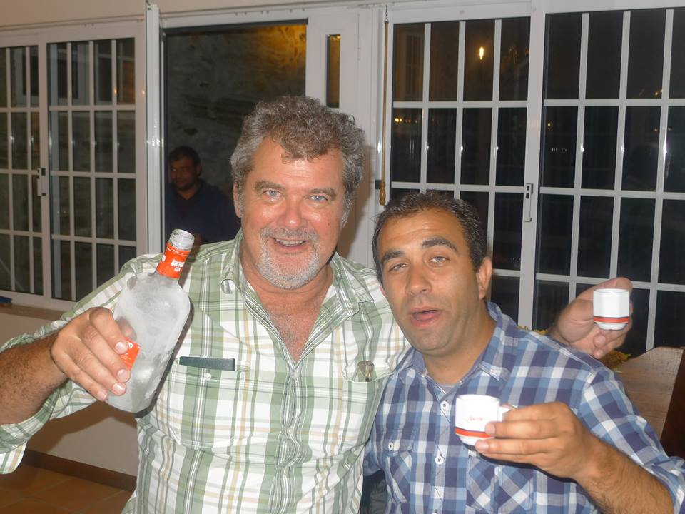 Luis Coelho, Douro wine-maker, celebrating the successful Guild tasting with a South African.