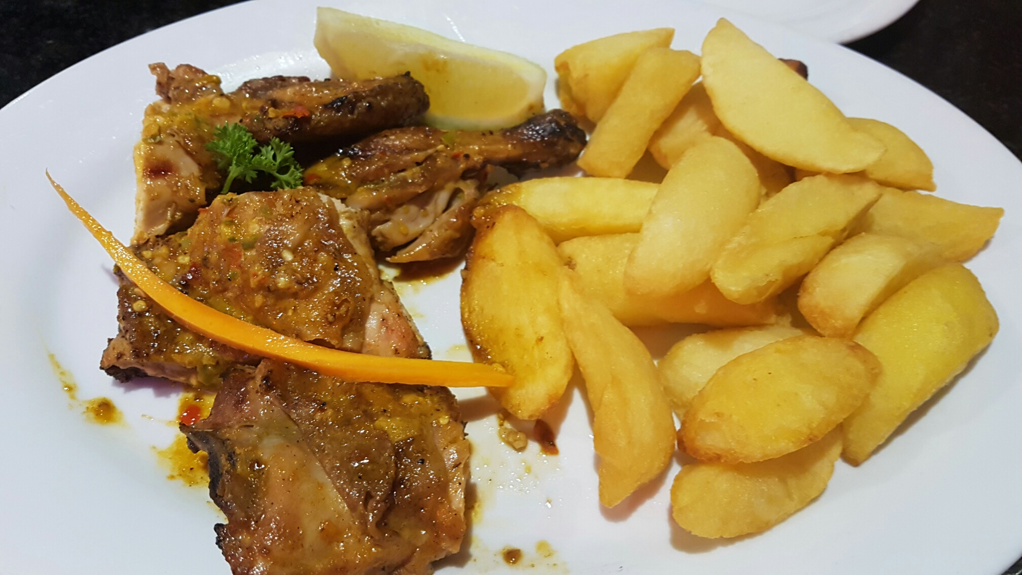 Wedges and chicken peri-peri.